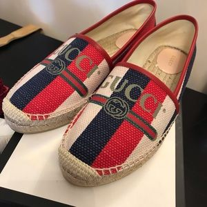 GUCCI WOMENS Red White Blue Espadrilles size 41.5